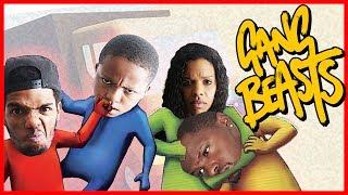 EVERYBODY DUCK! 4-WAY FAMILY BRAWL! - Gang Beasts Gameplay