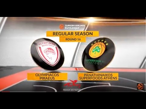EuroLeague Highlights RS Round 16: Olympiacos Piraeus 77-69 Panathinaikos Superfoods Athens