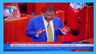 Senators give their views on presentations during Governor Waititu's