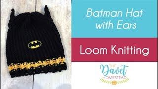 Batman Super Hero Hat with Ears - Loom Knitted