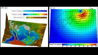伊勢湾海域における高潮解析例水位と台風