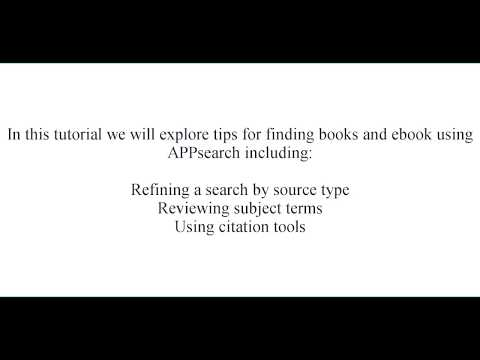 APPsearch for Books and Ebooks