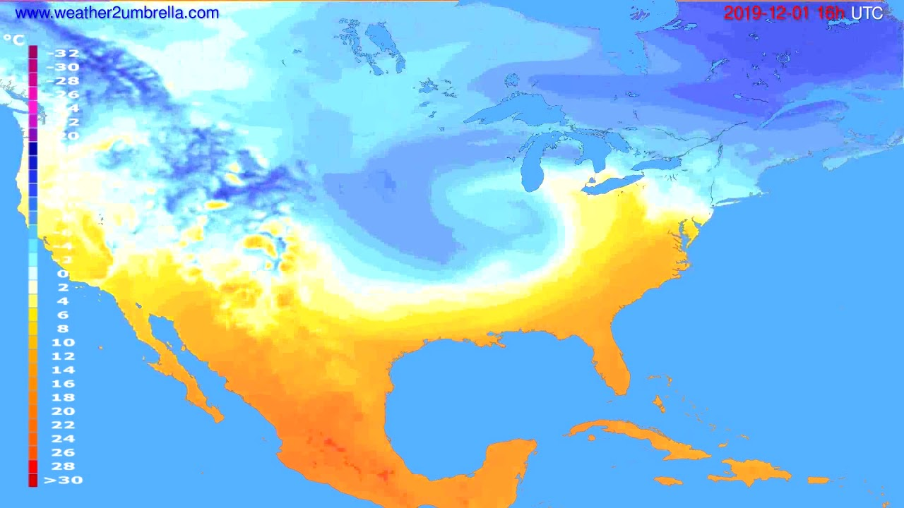 Temperature forecast USA & Canada // modelrun: 12h UTC 2019-11-30