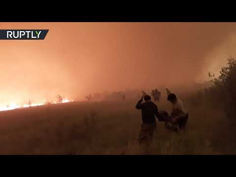 Huge fire turns sky red in Siberia