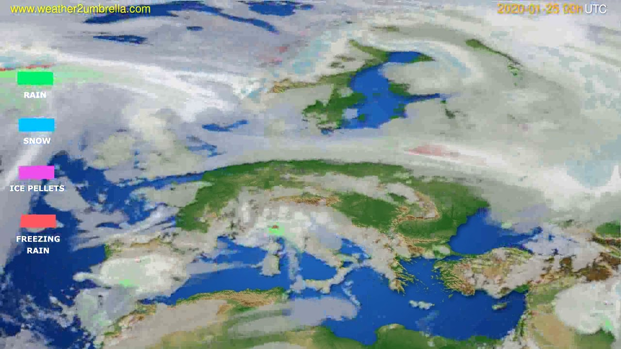 Precipitation forecast Europe // modelrun: 00h UTC 2020-01-24