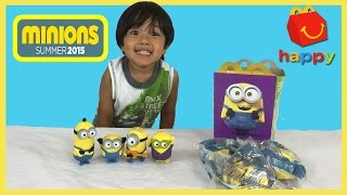 Minions Mcdonalds Happy Meal Toys Minions Movie 2015 Kid playing with toys Ryan ToysReview