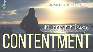 Finding contentment – in marriage.