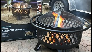 HAMPTON BAY piedmont 30in outdoor fire pit unboxing & set-up