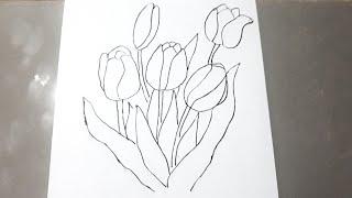 Download 700 Koleksi Gambar Bunga Tulip Pensil Terbaik