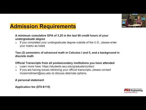 Arizona State University Master of Computer Science Admissions ...