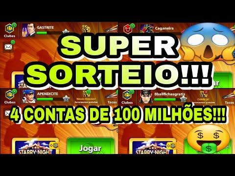 SORTEIO DE 4 CONTAS COM 100 MILHÕES DE FICHAS MAIS TACO MULTIMILIONÁRIO!!! 8 BALL POOL 2020
