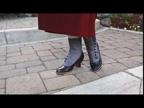 Manhattan Button Boots (Grey/Black)(1890-1920)