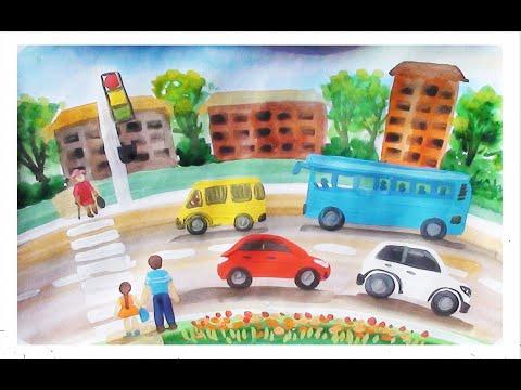 Как нарисовать город поэтапно. Видео урок для детей.