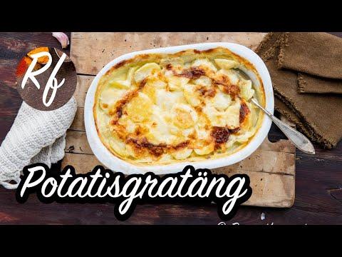 Enkel och krämig potatisgratäng med potatis, grädde, mjölk och vitlök. Receptet är för fyra portioner men du kan dubblera det till så många du vill.>
