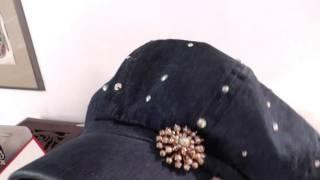 """9 Старинные дамские шляпки. """"Гаврош"""" джинсовая ткань и кристалы Сваровски"""