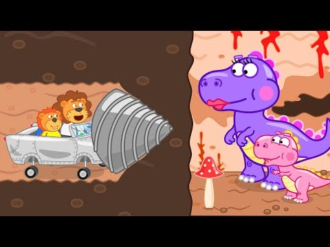 Lion Family Journey to the Center of the Earth – Little Dragon Rescue Cartoon for Kids