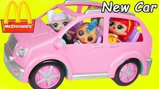LOL Surprise Unicorn Dolls Buy New Car for School Supplies + McDonald