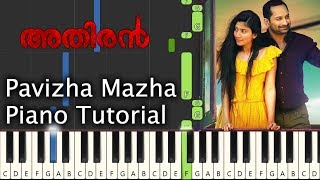 Pavizha Mazha Piano Tutorial Notes & MIDI | Athiran | Malayalam Song