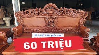 Bộ Bàn Ghế Louis Hoàng Gia Gỗ Gõ Đỏ ( 60 triệu)