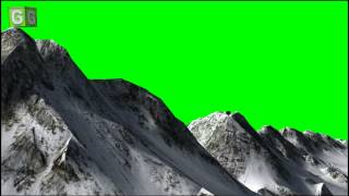 Flying over mountains green screen C