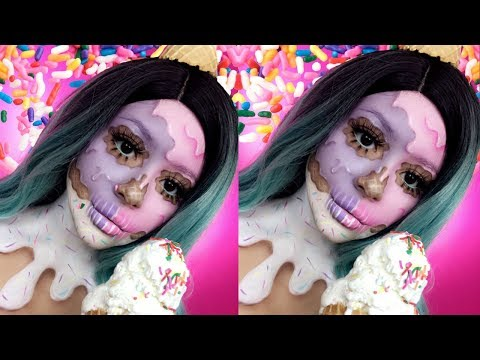 🍦Ice Cream Skull Halloween Makeup Tutorial | Daisy Marquez🍦