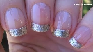 How to: Easy & Quick GOLD FRENCH MANICURE Nail Art