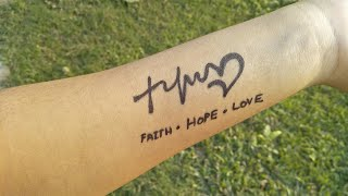 Tattoo At Home With Marker  Pen !! Faith - Hope - Love Tattoo !!