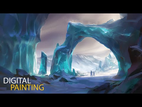 digital painting concept art of ice passage by jordan grim