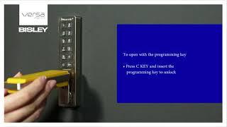 Digilock Versa Open the Lock with the Programming key UK