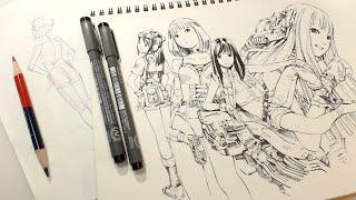 朱藍鉛筆とミリペンで気ままに練習ラクガキ(Practice Drawing : Real Time)