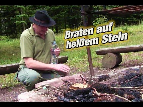 Bushcraft - Braten mit heißem Stein & Feuerstahl anwenden