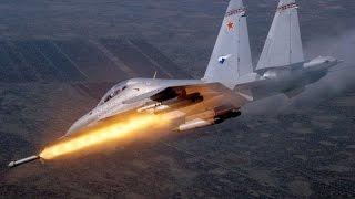 Су-30 СМ  обрабатывают боевиков неуправляемыми ракетами. Сирия