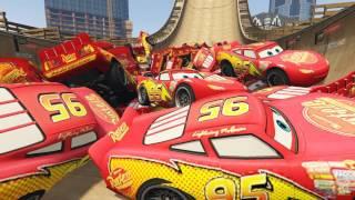 100 Lightning McQueen Cars Party! Spiderman Jumps & Stunts Disney Pixar Cars