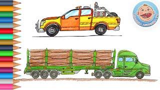 Машинки раскраски для детей. Сборник про пикап и лесовоз