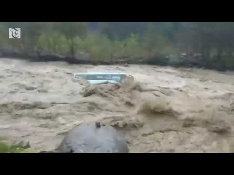 Floods wash away bus in northern India