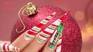 Christmas Elf Stiletto Gel Nails