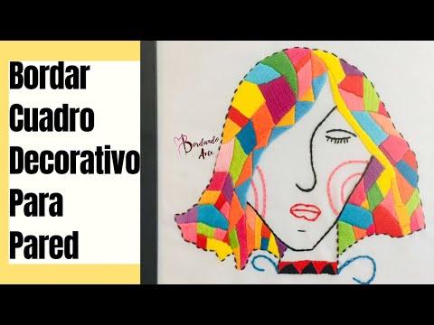 Cómo bordar un cuadro decorativo para pared | bordar una cara o rostro | Puntadas para principiantes