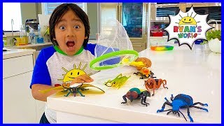 Ryan's Bug Catching at home Pretend Play and Learn Insect Facts for kids!