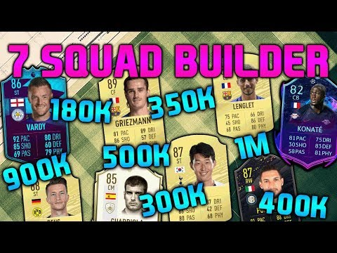 FIFA 20 SQUAD BUILDER 180K 300K 350K 400K 500K 900K 1M SQUAD BUILDER FUT CHAMPIONS TEAMS