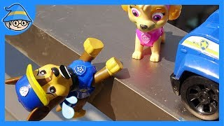 Paw Patrol Chase fall on the ground. Zuma Skye and Rubble Rescue him.   Shim
