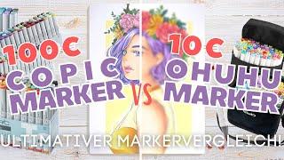 GENIAL GÜNSTIGE COPIC ALTERNATIVE?!   Ohuhu vs. Copic Marker Vor/Nachteile   Alkohol Marker Review