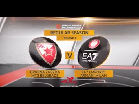 EuroLeague Highlights RS Round 8: Crvena Zvezda mts Belgrade 83-70 EA7 Emporio Armani Milan