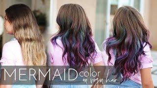 Mermaid Hair Color On Virgin Hair | Vivid Balayage Tutorial (One Easy Step!)