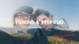 Filming a proposal with fpv drones and flying in town