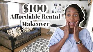 Super Affordable Rental Living Room Makeover / Decorating On A Budget