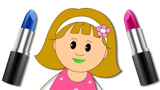Let's Play With Color Lipstick | Elly's Funny Make Up Face With Finger Family Song by KidsCamp