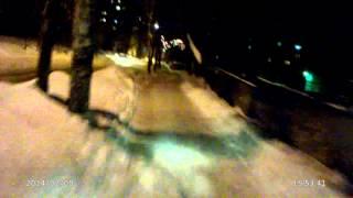 зимой на питбайке по городу     темп  -18