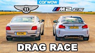 [carwow] BMW M2 CS vs Bentley Flying Spur - DRAG RACE *Surprise result*