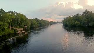 FPV drone - Flying over Suwannee River During Sunset