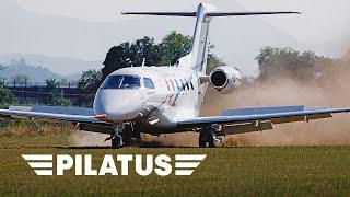 The Pilatus PC-24 Super Versatile Jet Landing on Grass (Dirt) Runway